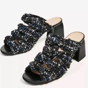 ZARA Blue Tweed Knot Mule Sandal Size 9